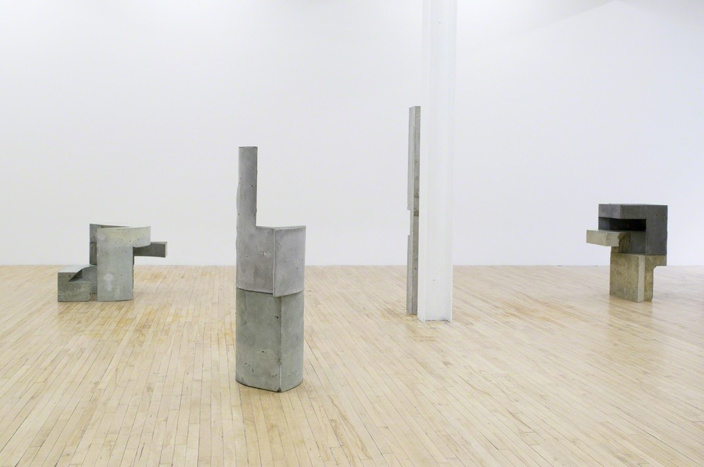 Toronto-based artist Jen Aitken (b.1985) creates sculptures and drawings that subvert habits of interpretation and allow for prolonged moments of focused observation. She relies on basic geometric shapes to ground her sculptures in the familiar built environment, but combines these simple units into ambiguous forms that contradict anticipations and provoke embodied responses.