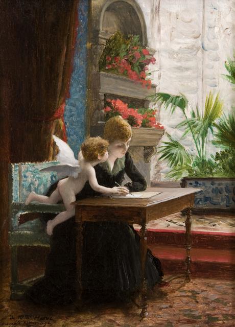 Jean-Léon Gérôme, 'Jeune femme et Amour', 1889, Painting, Oil on canvas, Guarisco Gallery