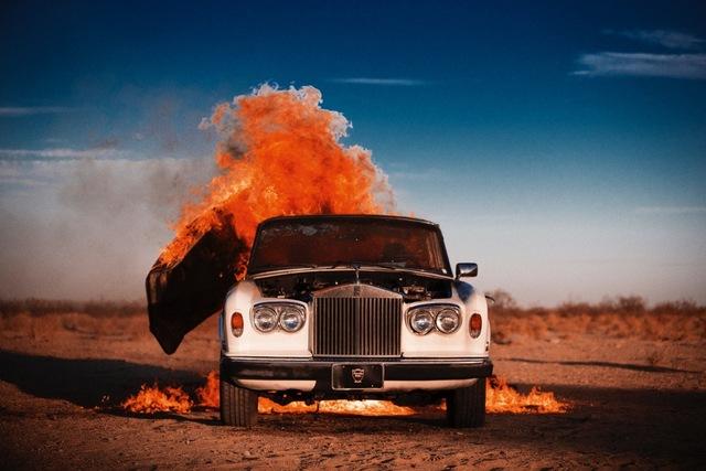 Tyler Shields, 'Rolls Royce on fire', 2014, Imitate Modern