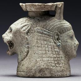 'Double-Headed Aryballos',  mid-6th century B.C., Faience, J. Paul Getty Museum