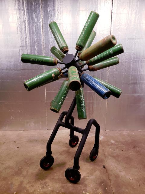 Charles Emlen, 'Hybrid Re-Breather', 2020, Sculpture, Painted steel and repurposed oxygen bottles, InLiquid