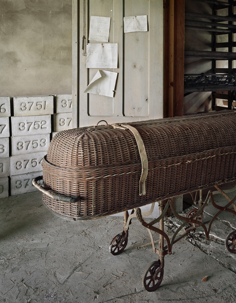 Casket and Unused Grave Markers, St. Lawrence State Hospital, Ogdensburg, New York