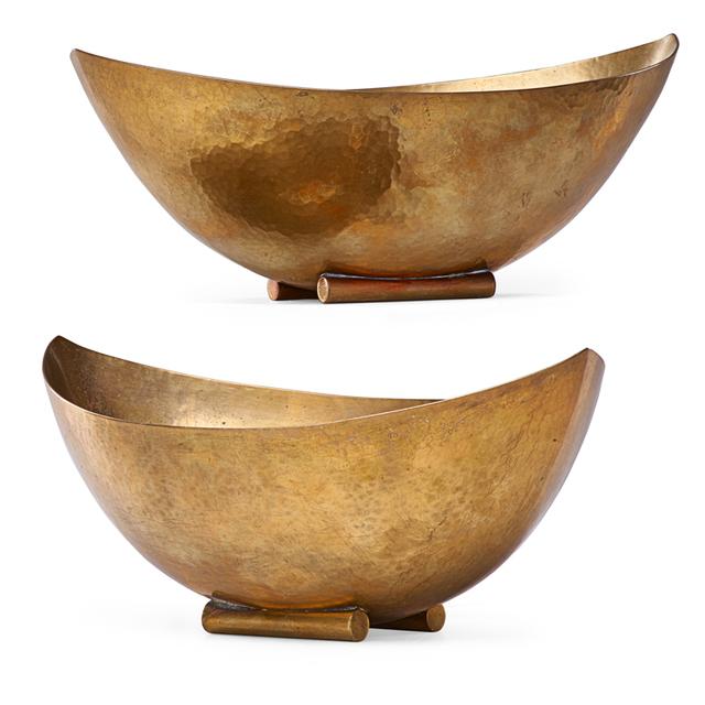 Josef Hoffmann, 'Wiener Werkstatte, Two Bowls, Austria', ca. 1928, Design/Decorative Art, Hammered Brass, Rago/Wright