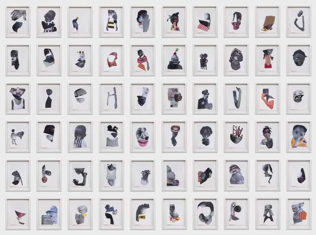 Deborah Roberts, 'Future Tense', 2018, Drawing, Collage or other Work on Paper, 60 parts, mixed media and collage on paper, Stephen Friedman Gallery