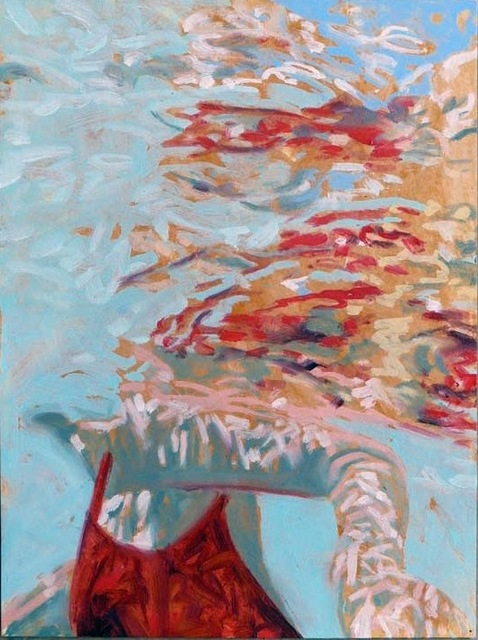 """Carol Bennett, '""""Papillion"""" abstract oil painting of a woman in a red suit in a blue pool', 2010-2017, Eisenhauer Gallery"""