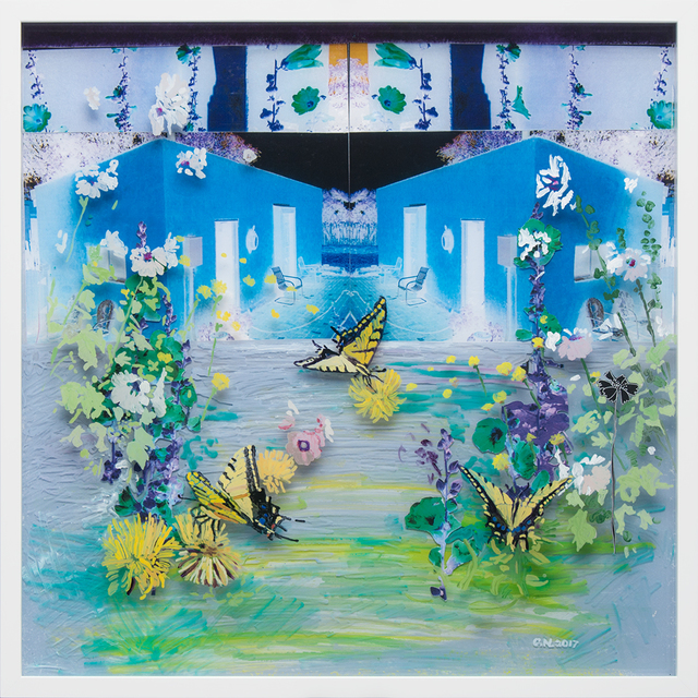 Gail Norfleet, 'Blue Studio and Hollyhocks', 2017, Painting, Acrylic and cut paper photo collage on two Lucite panels, Valley House Gallery & Sculpture Garden