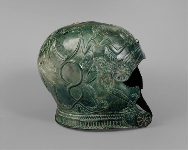Unknown Greek, 'Two bronze helmets', late 7th century B.C., The Metropolitan Museum of Art