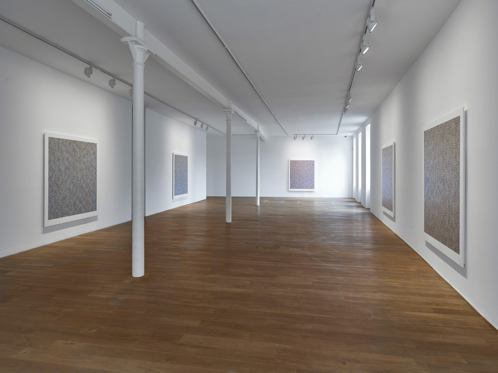 Installation view of James Hugonin's solo exhibition 'Binary Rhythm: Paintings 2010 - 2015' Ingleby Gallery, Edinburgh (10 October - 21 November 2015)