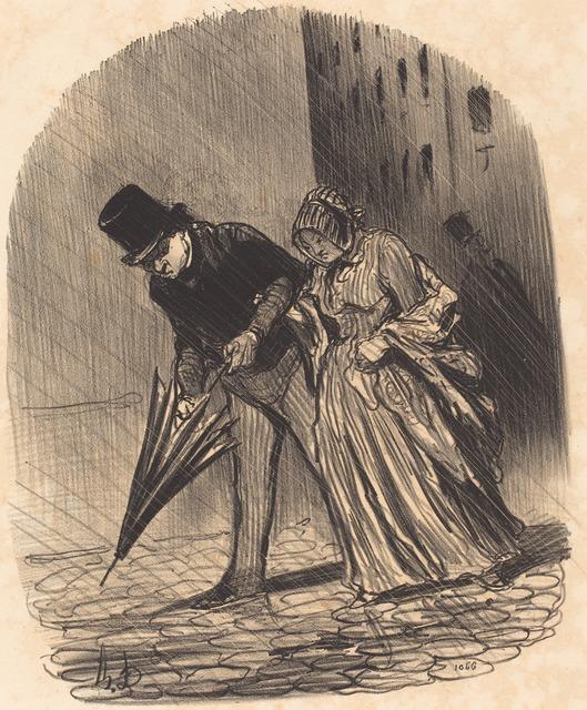 Honoré Daumier, 'Inconvénient d'un parapluie a ressorts trop compliqués', 1847, National Gallery of Art, Washington, D.C.