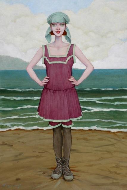 """Fred Calleri, '""""Sea Foam"""" Woman in Vintage Purple Bathing Suit Standing in front of Green Ocean', 2010-2017, Eisenhauer Gallery"""
