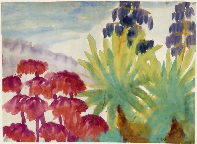 , 'Rote Blumen und Stauden mit blauen Blüten (Red Flowers and Shrubs with Blue Blossoms),' 1923-1924, Galerie Thomas