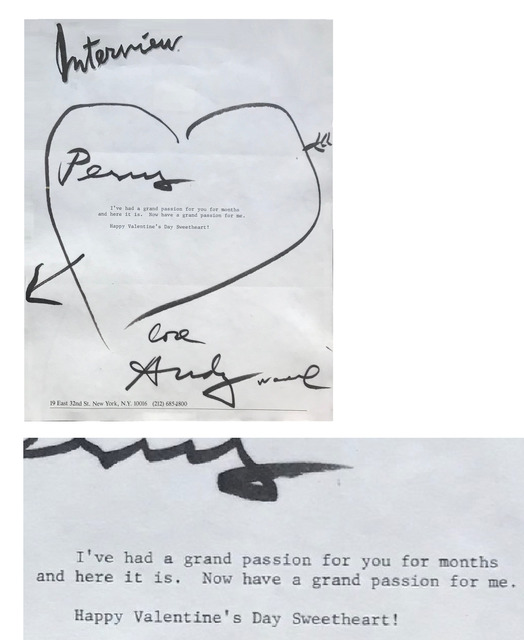 "Andy Warhol, '""To Perry Ellis- Happy Valentine's Day Sweetheart!"", 1980's, SIGNED Letter/Envelope with Heart Drawing, UNIQUE & RARE', 1980's, VINCE fine arts/ephemera"