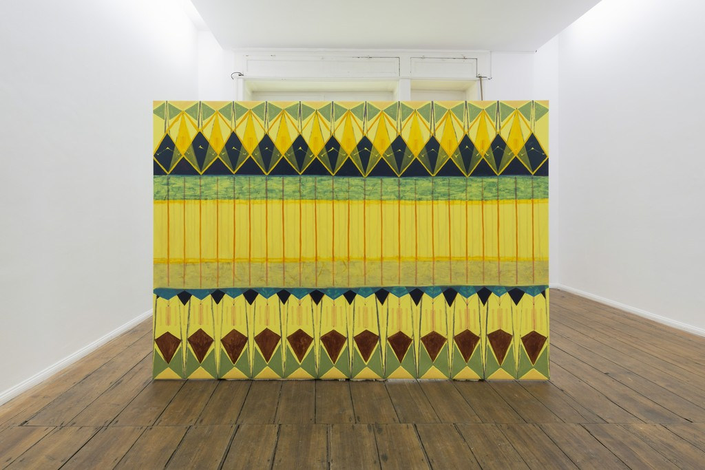 Tobias Sjöberg, Mamma och Pappa II (installation view), oil on canvas, with wooden structure, 257 x 181 cm, 2015.