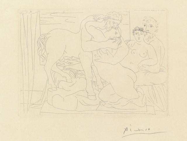 Pablo Picasso, 'Le Repos du Sculpteur devant un Centaure et une Femme, from La Suite Vollard (B. 167; Ba. 320)', 1933, Print, Etching on Montval paper with Vollard watermark, Invertirenarte.es