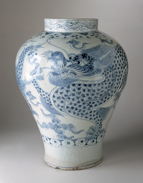 'Jar with Dragon and Clouds', Joseon dynasty (1392-1910); 18th century, Los Angeles County Museum of Art