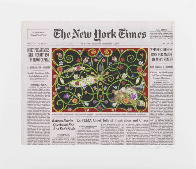 Fred Tomaselli, 'September 15, 2005', 2010, Print, Inkjet and silkscreen on paper, Bronx Museum of the Arts Benefit Auction