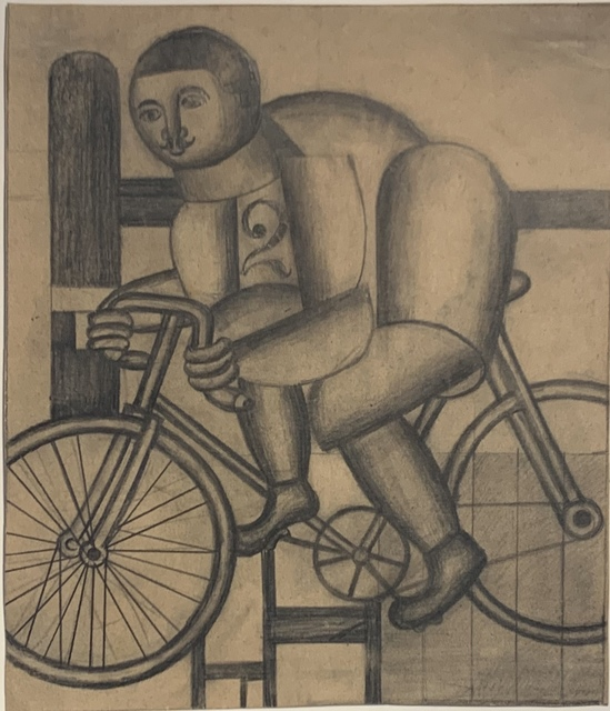 Henryk Streng/ Marek Włodarski, 'Cyclist', ca. 1925, Drawing, Collage or other Work on Paper, Pencil on paper, Olszewski Gallery