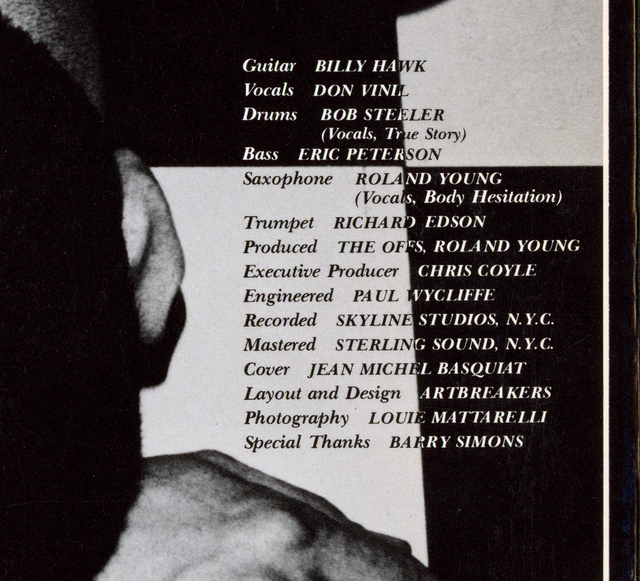 Jean-Michel Basquiat, 'Basquiat The Offs ', 1984, Design/Decorative Art, Offset lithograph on vinyl record jacket, vinyl record label, Lot 180