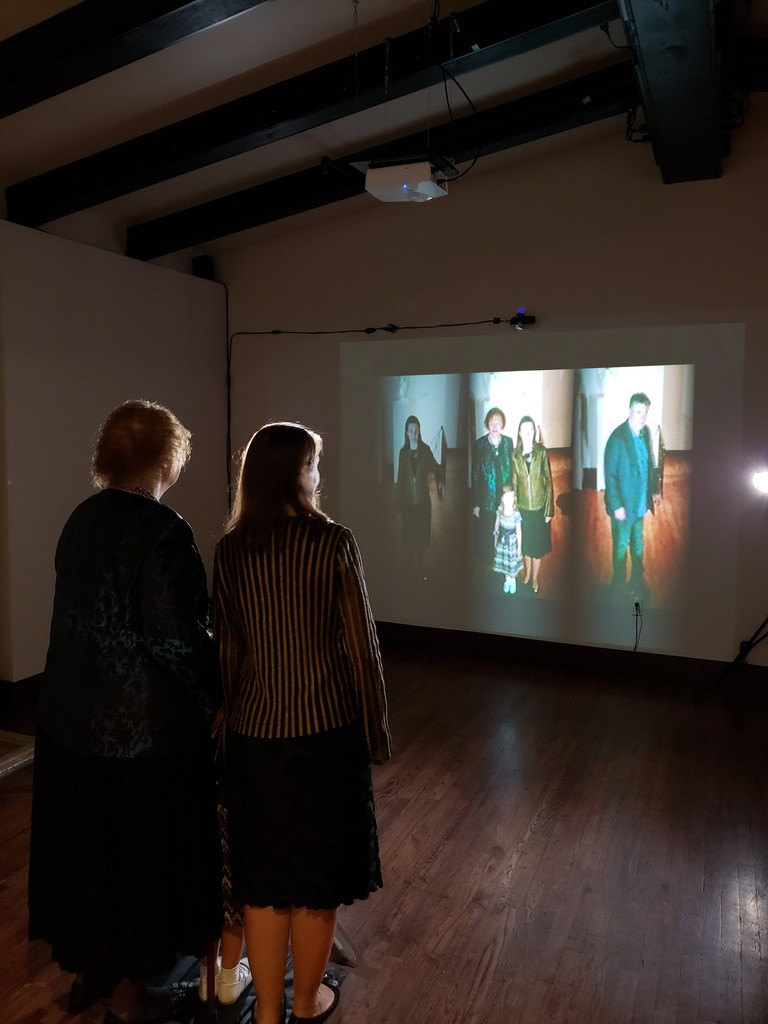 Alexandra Dementieva, Mirror's Memory (2003). Interactive installation,  Camera DV, Mac G4, Video Projection in the exhibition From Non-Conformism to Feminisms: Russian Women Artists from the Kolodzei Art Foundation at the Museum of Russian Art (TMORA), Minneapolis, Minnesota, September 15, 2018 – February 10, 2019.