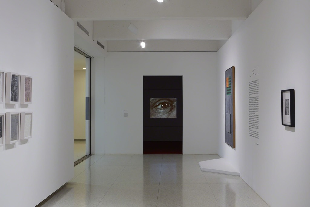 View of the exhibition Less Than One, 2016; (left to right): James Richards, Radio at Night, 2015; Jasper Johns, Flags, 1965