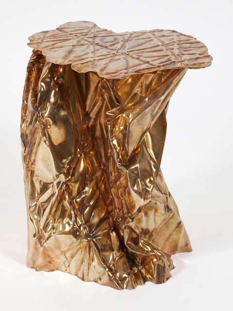 Christopher Prinz, 'Wrinkled Side Table', 2018, Design/Decorative Art, Brass plated steel, Patrick Parrish Gallery