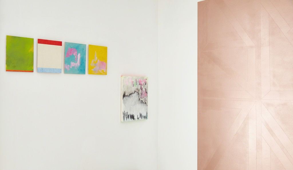 From left to right: Giorgios Kontis: Untitled, 2014; Untitled 2014 [both from the Blinky Palermo Series], Untitled, 2016; Untitled, 2016; Untitled, 2016. Robin Seir: Relief (Script), 2016. | Image Courtesy of Ione & Mann | Exhibition Photograpy: Matt Spour | Artwork copyright: the artists | All Rights Reserved.
