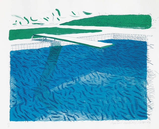 David Hockney, 'Lithographic Water Made of Lines, Crayon, and Two Blue Washes', 1980, Christie's