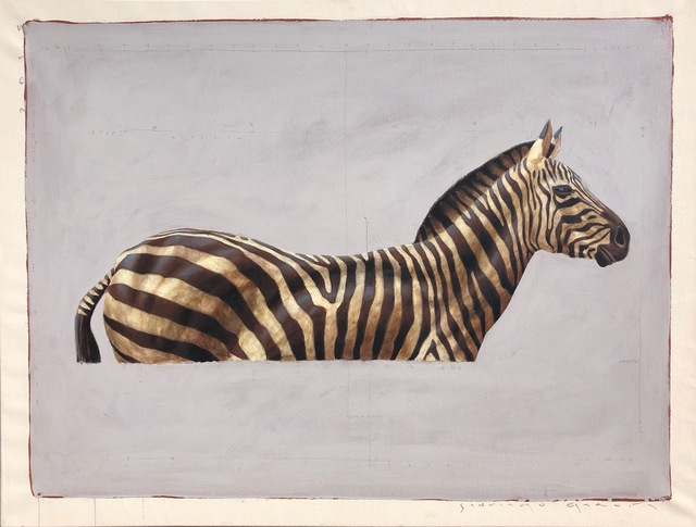 ", '""#57"" side portrait of black and white zebra on grey background,' 2010-2017, Eisenhauer Gallery"