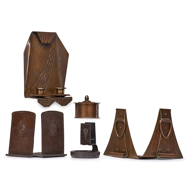 Roycroft, 'Two Pairs Of Bookends, Candle Sconce, Inkwell and Match Holder, East Aurora, NY', 1910s-20s, Rago