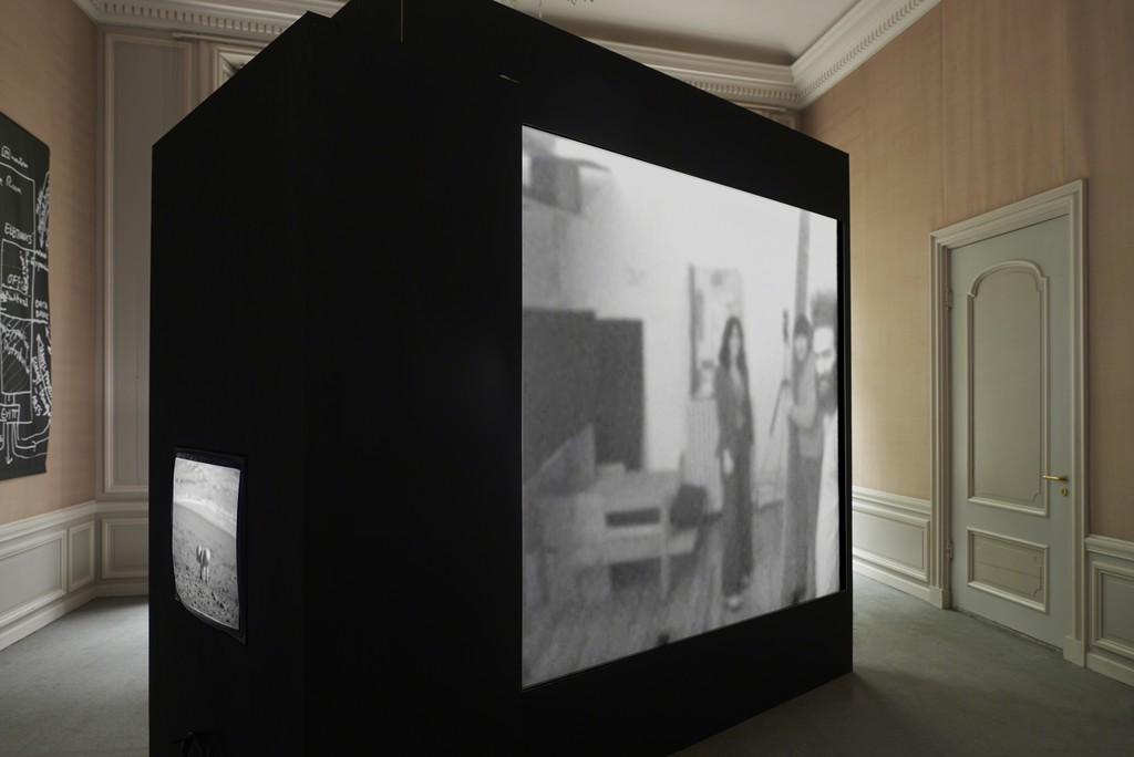 Installation view, 2018: The Raindance Foundation, The Rays, 1970, 23:08 min., The Raindance Foundation, Raindance Loft, 1972, 15:52 min. (from left to right)