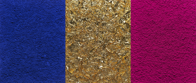 , 'Monochrome, Pink-Blue-Gold, after Yves Klein (Triptych) (Pictures of Pigment),' 2016, Ben Brown Fine Arts