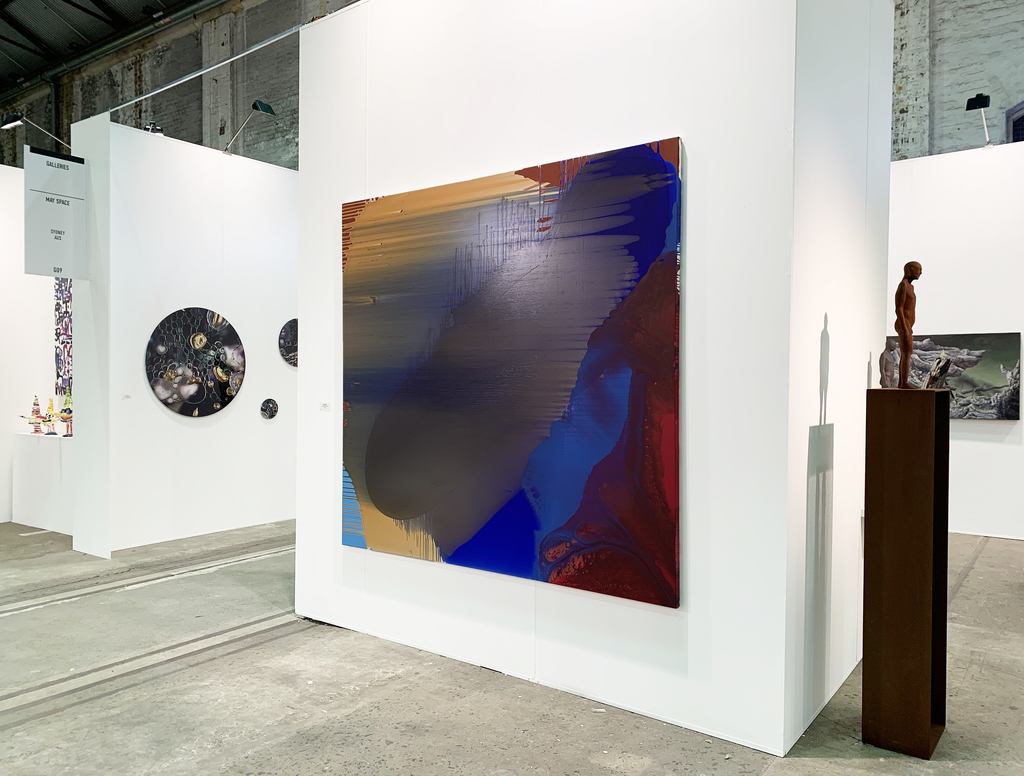 MAY SPACE at Booth G09 - Installation I, 10th September, 2019, featuring: Charlie Sheard, 'Aitia', 2013-19, acrylic mediums on polyester.  Janet Tavener, 'Seedless Collection 1', 2019, ChromaLuxe. Peter Tilley, 'The Materialised Shadow', cast iron, Corten steel.