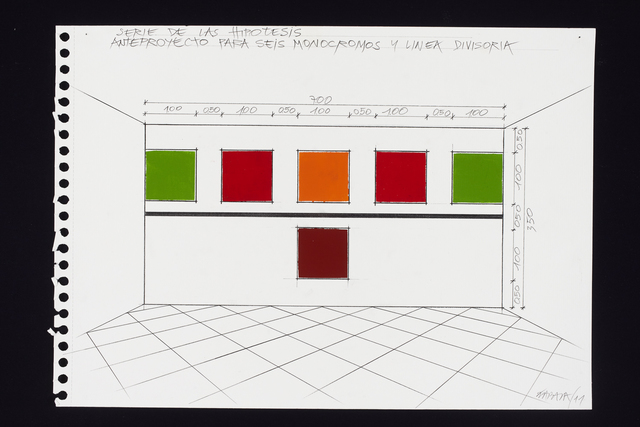 Horacio Zabala, 'Anteproyecto para seis monocromos y linea divisora', 2011, Drawing, Collage or other Work on Paper, Pencil and acrylic on paper, Henrique Faria Fine Art