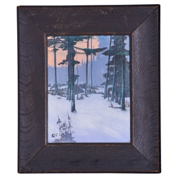 "Fine Scenic Vellum plaque, ""Winter Enchantment,"" Cincinnati, OH"