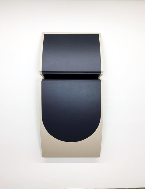 Robert William Moreland, 'Untitled Dark Curved Drop', 2019, Sculpture, Drop cloth on wooden panel with acrylic paint, tacks & leather hinges, g.gallery