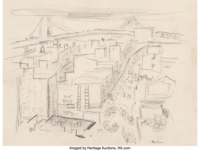 John Marin (1870-1953), 'Vicinity of Williamsburg Bridge', Heritage Auctions