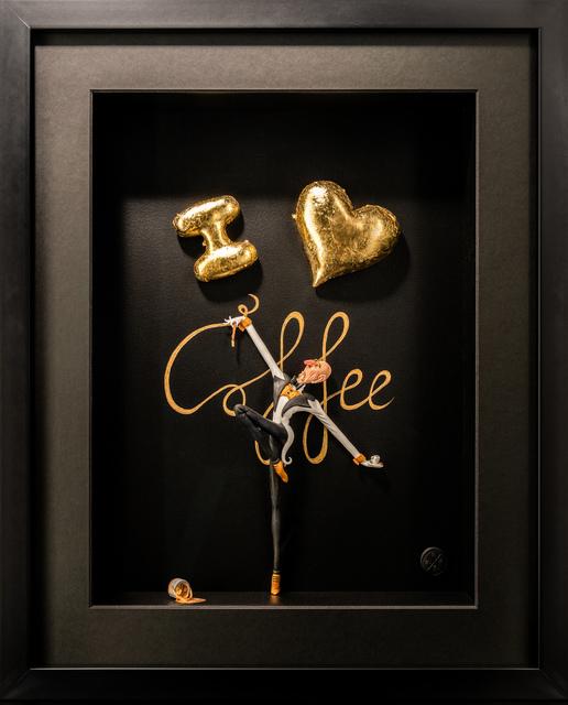 Kunst met een R, 'I love Coffee Gold ', 2020, Sculpture, 3D Shadow Box, Eden Fine Art