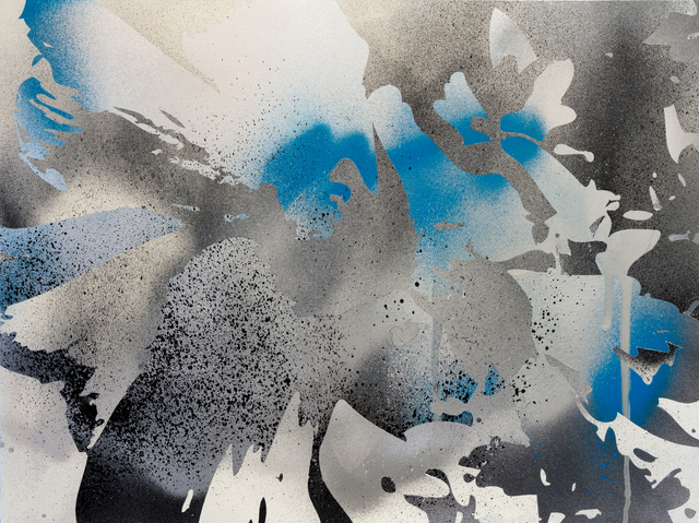 , 'Blue Explosion (silver, black, white),' 2017, Erin Cluley Gallery