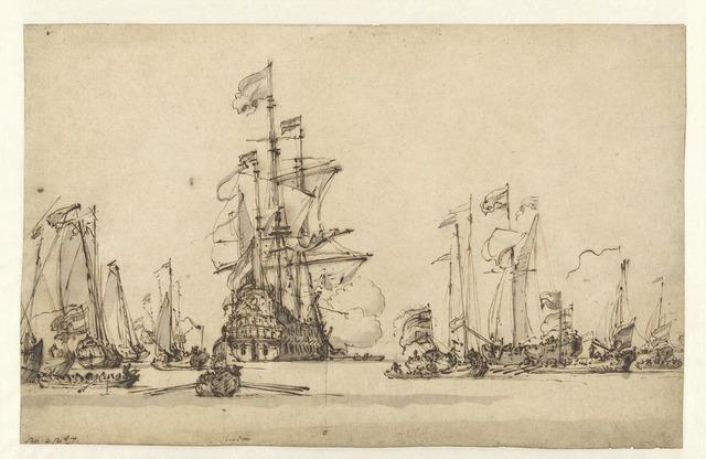 , 'De Gouden Leeuw Coming to Anchor in the IJ,' 1673, Rijksmuseum