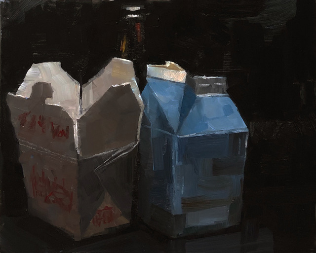 Tom Giesler, 'Open container: paper, paper and glass', 2019, Painting, Oil on panel, McVarish Gallery