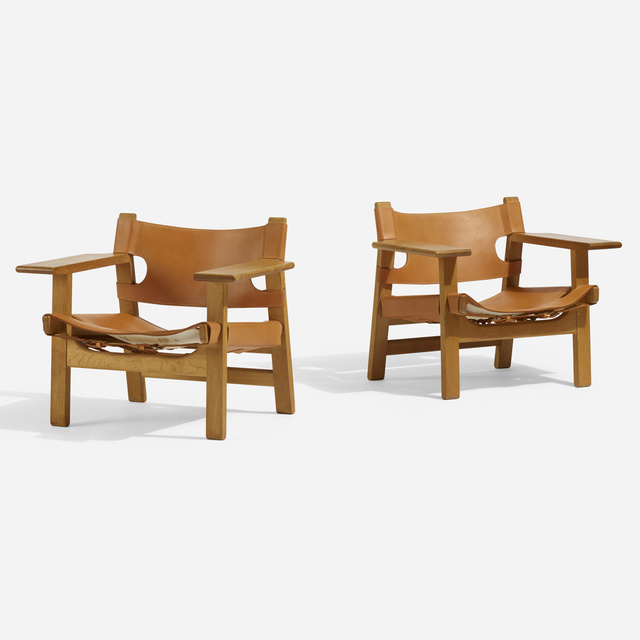 Börge Mogensen, 'Spanish chairs, pair', 1959, Design/Decorative Art, Oak, leather, brass, Rago/Wright