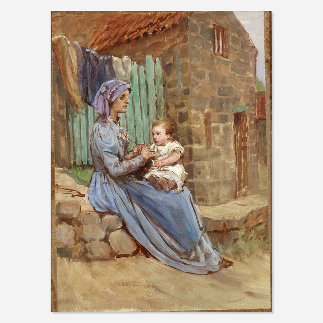 Anna Richards Brewster, 'Untitled (mother and child)', Painting, Oil on canvas laid to board, Rago/Wright