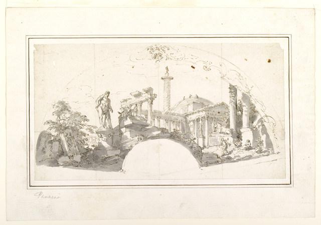 Giovanni Paolo Panini, 'Design for a Fan: Capriccio with Roman Ruins and the Farnese Hercules', ca. 1750, Cooper Hewitt, Smithsonian Design Museum
