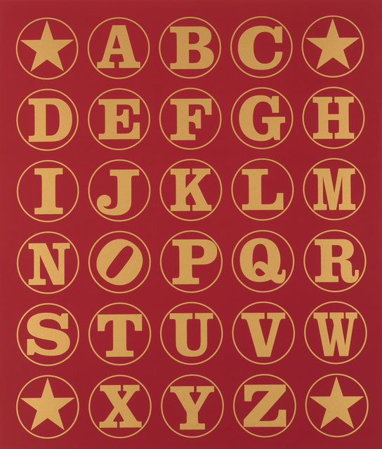 , 'Alphabet Wall (Gold on Red),' 2011, Contini Art UK