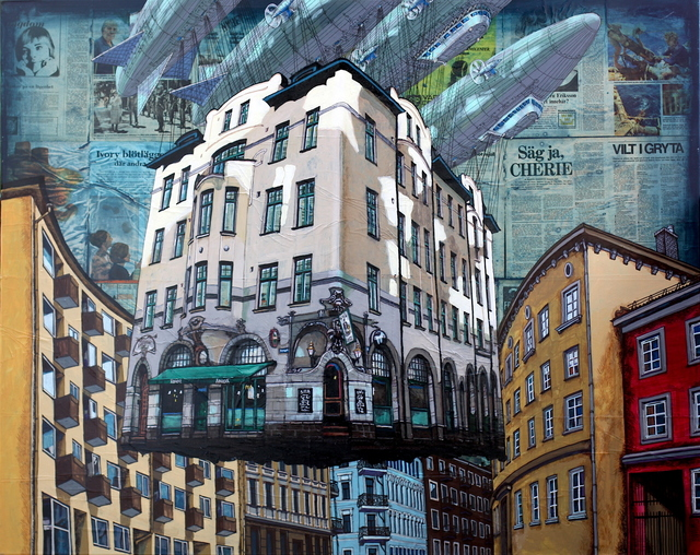 Alexei Svetlov, 'Flygende hus forbi Benneches gate i Oslo', 2019, GALLERI RAMFJORD