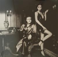 Helmut Newton, Hugh Hefner and Carrie Leigh, Beverly Hills, 1984