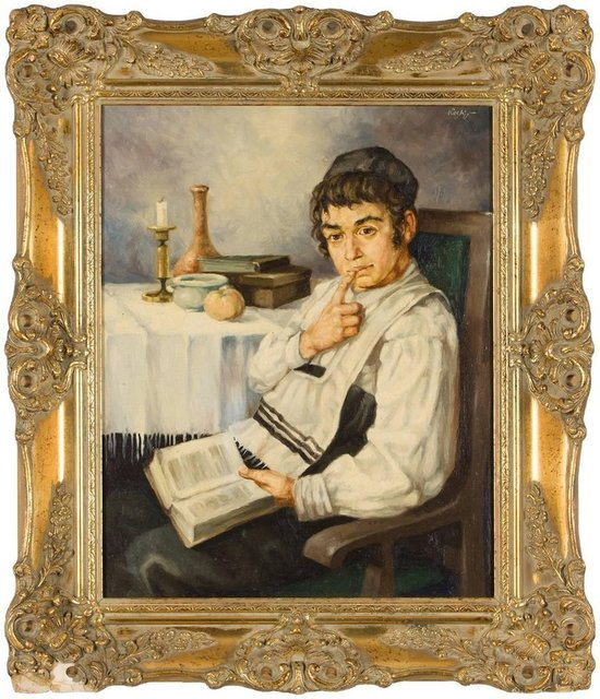 Unknown, 'Cheder Boy (Contemplative Jewish Boy) Hungarian Judaica Painting', 20th Century, Lions Gallery