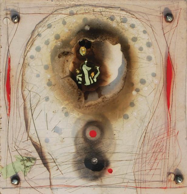 ", 'Acrylic Foil Burn, Metal Screens, Acrylic Paint, Metal Wire on Board, White, Black, Red by Padma Shree Artist ""In Stock"",' 1994, Gallery Kolkata"