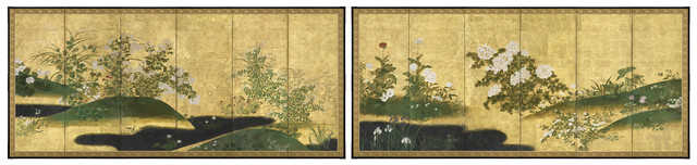 , 'Pair of six-panel Screens, Flowers of the Four Seasons (T-4168),' Edo period (1615, 1868), 18th century, Erik Thomsen