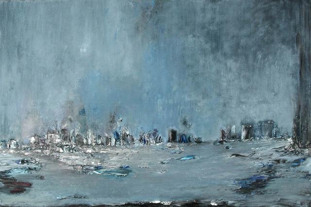 Anne Hefer, 'Blaue Fahne', 1996, Painting, Oil on Canvas, Alessandro Berni Gallery